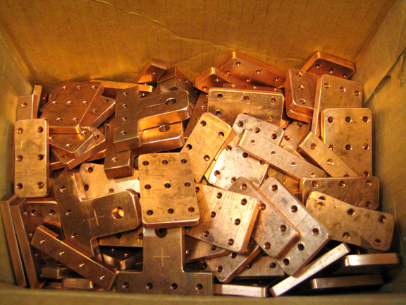 Box of clamp bars and terminals