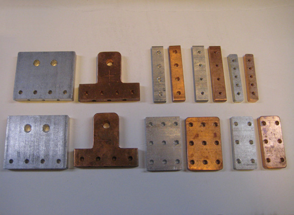 Aluminum test pieces and the final copper pieces