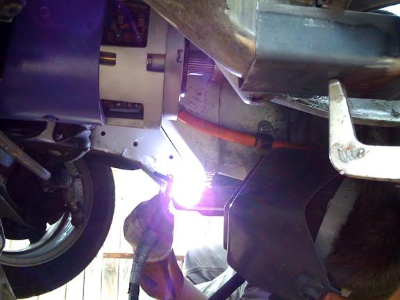 Welding the new subframe rails