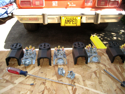 Each of the 4, 240V outputs would need to be terminated in NEMA 1450 outlets. The four outlets were prepared for the four pigtails that need to be assembled.